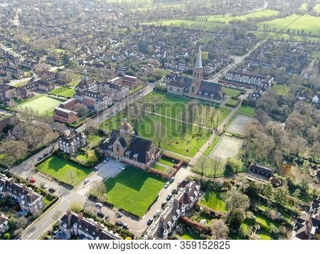 Aerial View Of Hampstead Garden Suburb And St. Judes Church, Elevated Suburb Of London. Uk