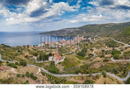 Aerial Panoramic View Of The Cathedral St.nicholas In Komiza City - The One Of Numerous Port Towns I