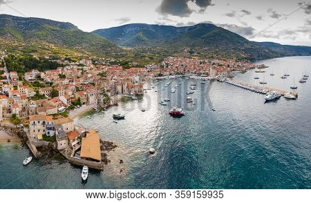 Aerial Panoramic View Of City Komiza - The One Of Numerous Port Towns In Croatia, Is A Lot Of Moored
