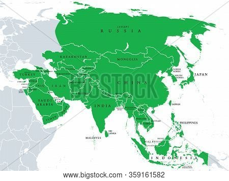 Asia, Political Map, States And Countries Of The Largest Continent. With The Asian Part Of Russia An