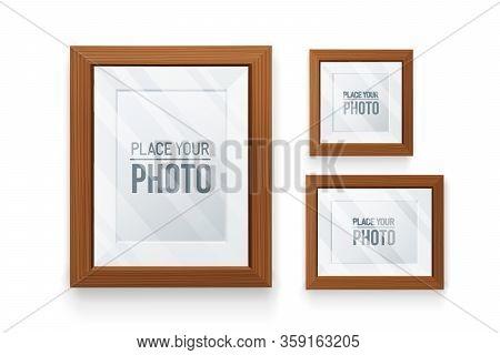 Set Of Empty Frames Wood In Various Format.realistic Wood, Transparent Glass, 3d Element .design Tem