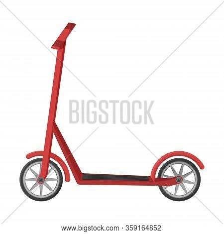 Scooter In A Flat Style. Vector Illustration. Non-fuel, Non-polluting Urban Transport. Object Is Iso