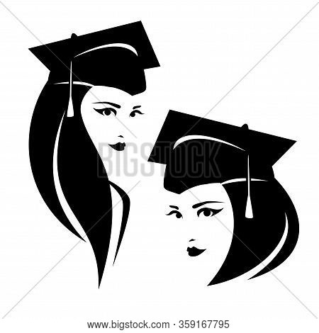 Beautiful Young Woman In Square Academic Mortarboard Cap - Graduate Female Student Black And White V