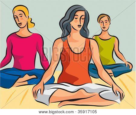 Illustration Of Three Women Doing Yoga Meditation In Lotus Positions