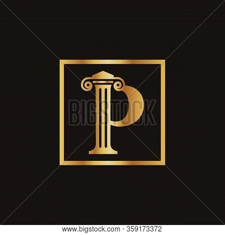 Attorney & Law Letter P Logo With Creative Modern Rectangular Vector Template. Law Business Letter P