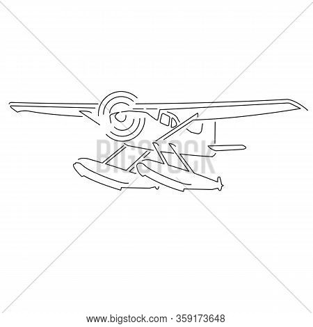 Small Seaplane Isolated Vector Illustration. Hydroplane Icon
