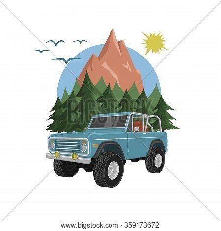 Vintage Offroad Truck Vector Illustration. Retro Trophy Car
