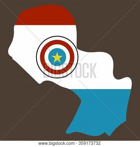 High Resolution Paraguay Map With Country Flag. Flag Of The Paraguay Overlaid On Detailed Outline Ma
