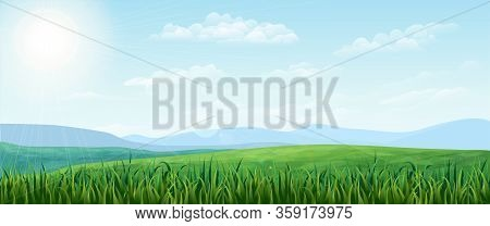 Horizontal Green Summer Landscape. Bright Idyllic Spring Background With Green Meadows, Rural Fields
