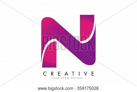 N Letter Logo Design With Ribbon Effect And Bright Pink Gradient. Colorful Rounded Letter.