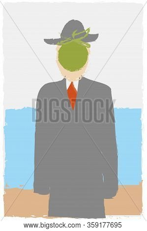 The Son Of Man, Rene Magritte Imitation Like Child S Drawing In Cartoon Style. Surrealism Painting A