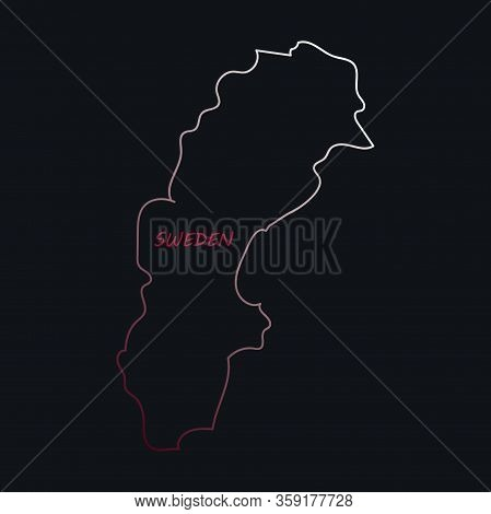 Sweden Vector Set. Detailed Country Shape With Region Borders, Flags And Icons Isolated On White Bac