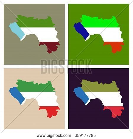 Equatorial Guinea Map And Flag In White Background