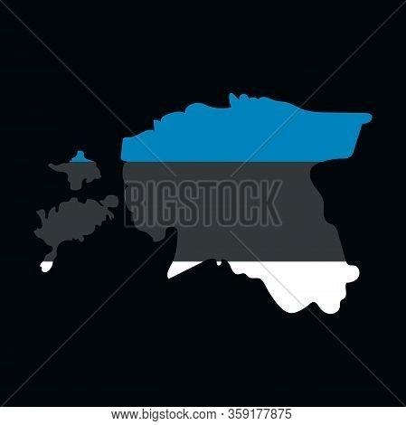 Map Estonia. Isolated Illustration. Black On White Background. Eps Illustration.