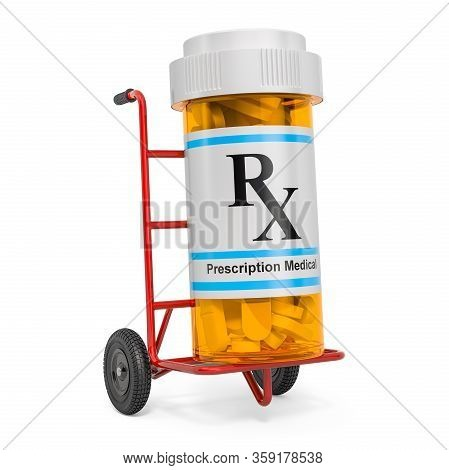 Drug Delivery. Hand Truck With Medical Bottle With Drugs, 3d Rendering Isolated On White Background