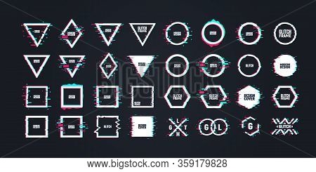 Geometric Shapes With Distorted Glitch Effect. Graphic Design Elements In Distorted Glitch Effect. M