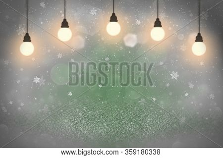 Green Wonderful Bright Abstract Background Glitter Lights With Light Bulbs And Falling Snow Flakes F