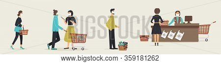 Grocery Store During Epidemic Of Virus.cashier In Protective Medical Mask Is Behind Cash Register Se