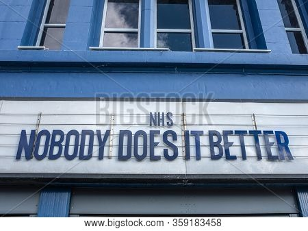 Glasgow, Uk - Mar 28 2020 - A Tribute To The British National Health Service (nhs) On A Theatre Marq