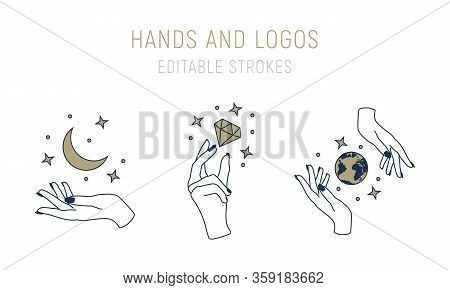 Vector Logo Templates In Trendy Minimal Style. Abstract Hand Drawn Logo Set With Hands, Moon, Stars,