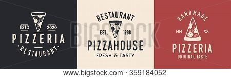 Pizza Logo Set. Logo For Pizza House, Pizzeria, Restaurant With Pizza Slice. Typography Pizza, Pizze