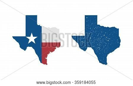 Texas Flag Map Icon And Texas Map With Vintage Stamp Effect Isolated On White Background. Print For
