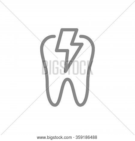Tooth With Acute Pain Line Icon. Danger Of Teeth Disease, Pain Symptoms Symbol