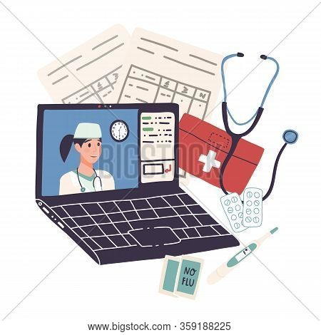 Online Doctor Consultation,distant Healthcare On Quarantine Or Self-isolation Concept.video Call For