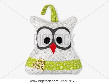 Wite And Green Decorative Owl Handmade Isolated On White Background With Shadow