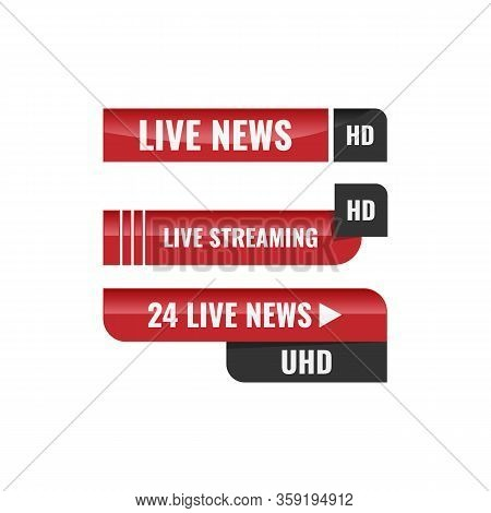 Vector Tv News Banner Interface , News Label Strip Or Icon, Live News, Breaking News