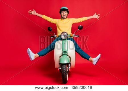 Portrait Of Her She Nice Attractive Carefree Girlish Crazy Cheerful Cheery Girl Riding Moped Without