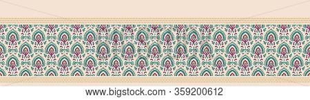 Old Indian Arabesque Paisley Buta Leaf Seamless Vector Border Pattern. Ornate Color Middle Eastern B