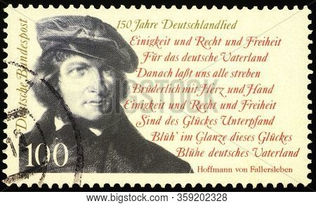 Moscow, Russia - March 30, 2020: Stamp Printed In Germany Shows German Poet August Hoffmann Von Fall