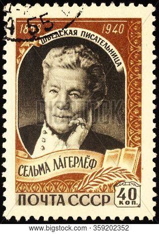 Moscow, Russia - April 02, 2020: Stamp Printed In Ussr (russia) Shows Portrait Of Swedish Author And
