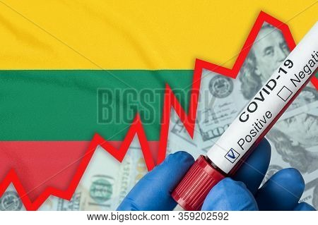 Coronavirus In Lithuania. Positive Blood Test On Flag Background. Increase In Incidence. Economic Cr