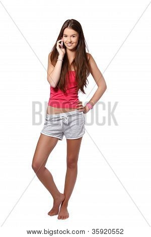 Young Brunette Woman Making A Call