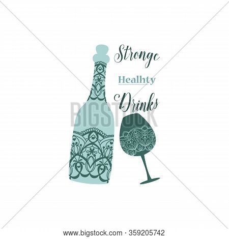 Simple Young Tosca Color Bottle And Glass Design With Angela And Beer. Vector