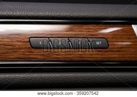 Novosibirsk, Russia - February 09 , 2020 Volkswagen Touareg, Close-up Of Seat Adjustment Buttons. Mo