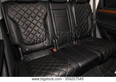 Novosibirsk, Russia - February 09 , 2020 Volkswagen Touareg, Close-up Of The Black  Rear Seats With