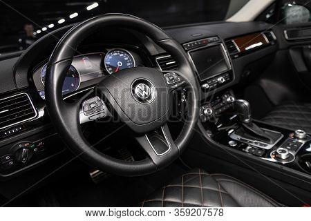 Novosibirsk, Russia - February 09 , 2020 Volkswagen Touareg, Luxury Car Interior - Steering Wheel, S