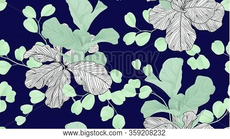 Floral Seamless Pattern, Green Fiddle Leaf Fig Plant And Silver Dollar Eucalyptus Leaves On Dark Blu