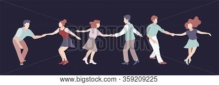 Set Of Three Young Couple Dancing Swing, Rock Or Lindy Hop. Retro In Flat Style Hand Drawn. Disc Cov