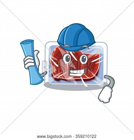Cartoon Character Of Frozen Beef Brainy Architect With Blue Prints And Blue Helmet