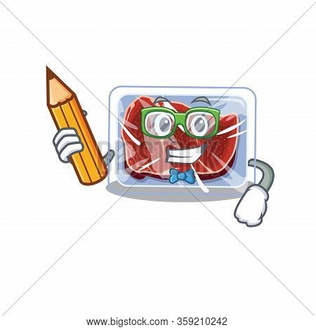 A Brainy Student Frozen Beef Cartoon Character With Pencil And Glasses