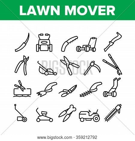 Lawn Mover Equipment Collection Icons Set Vector. Garden Scissors And Electronic Device For Cutting,