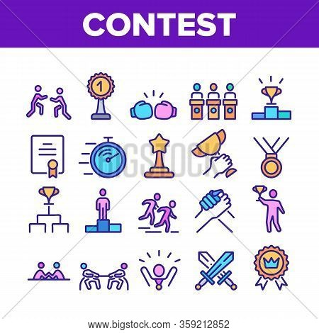 Contest Sport Activity Collection Icons Set Vector. Box And Run, Arm Wrestling And Tug Of War Contes