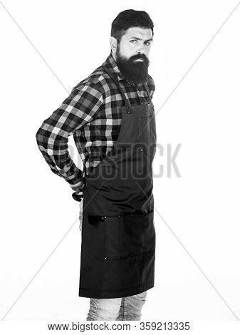 Fast Food Restaurant. Serious Bearded Cook. Restaurant Staff. Ready To Cook. Bearded Hipster Wear Ap