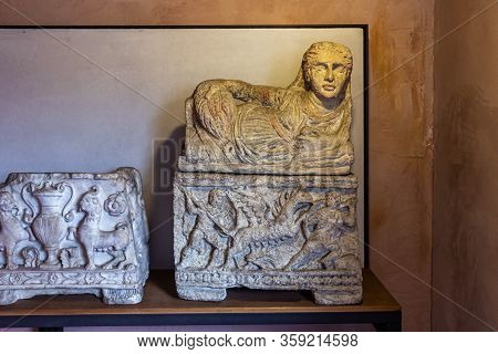 Verona, Italy - September 26, 2015 : Well-preserved Decoratively Decorated Stone Children Sacophagus
