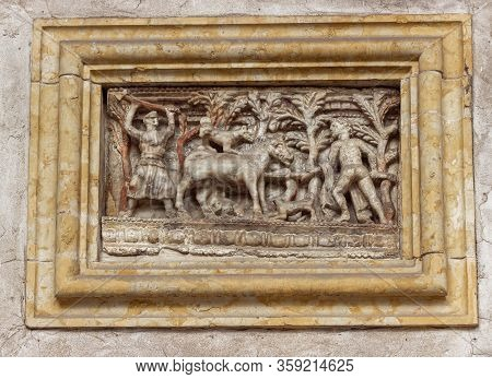 Verona, Italy - September 26, 2015 : Stone Bas-relief On The Wall At The Exposition In The Courtyard