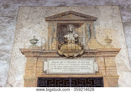 Verona, Italy - September 26, 2015 : Stone Exhibits Decorated With Decorative Carvings On Display In